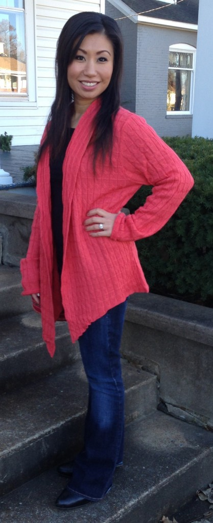 Isn't this striking?  Andrea is wearing this one-size-fits-most Alpaca cardigan from Peru.