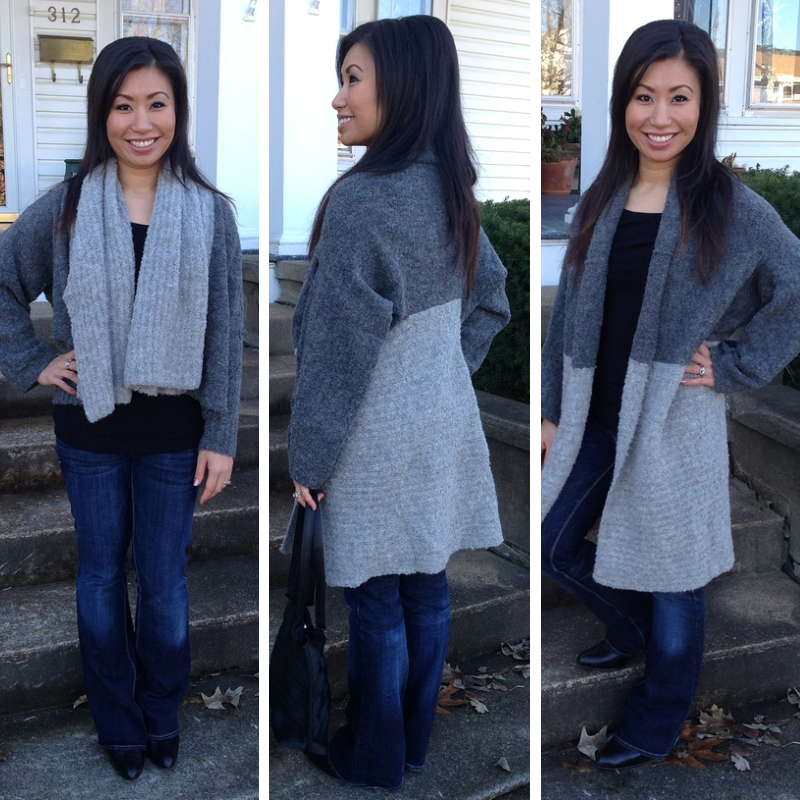 This Duet Grey Sweater can be worn TWO ways!  Our Boucle Alpaca sweater is super lightweight but extra warm.  Wear it as a short jacket with scarf collar.....or flip it upside down and wear it as a long cardigan. How cool is that?!