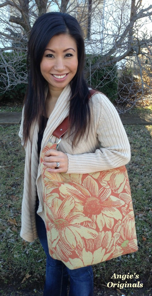 Handcrafted purse with leather strap by Jane Plain at Angie's Originals