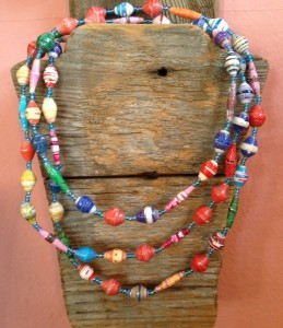 Beautiful colorful paper bead necklace from Angie's Originals.  angiesoriginals.com