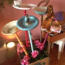 Vintage Bird Feeders and Yard Art