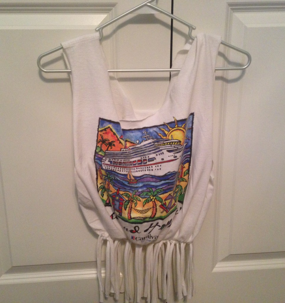 Here is another idea for your Upcycled T-Shirt Bag.  Hang it in your closet and use it to store things like hose or slips.  It is a smart way to keep things handy in your closet rather than in a drawer.