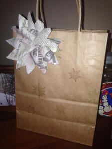 gift bag with stamped snowflakes