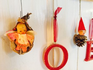 Vintage angel in milkweed pod and pine cone elf Christmas ornaments