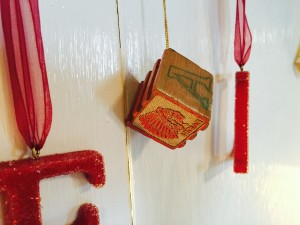 Vintage building block Christmas ornament. My grandmother made it from blocks my Dad played with as a child.