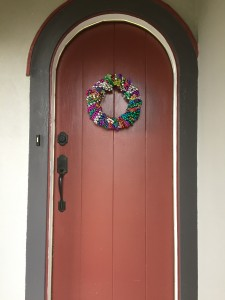 Mardi Gras Bead Wreath on front door